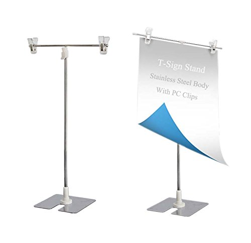 (MEOLY T-Sign Adjustable Poster Stand Stainless Steel Display Banner Stand Holder with Clip)
