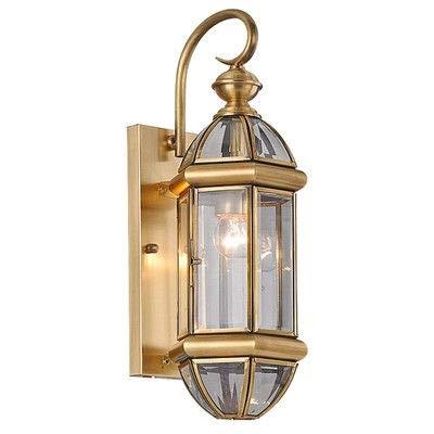 GYHTXHJPET Europeo di rame, rotondo esterno muro luce lanterna in Acciaio Inossidabile luce Spot Giardino Lampada impermeabile