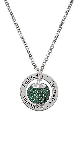 Green Crystal Sparkle Spinner Zodiac - Sagittarius Affirmation Ring Necklace