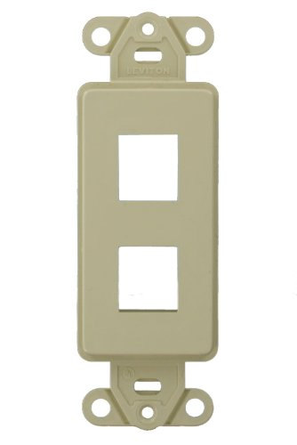 Leviton 41642-I QuickPort Decora Wall Plate Insert, 2 Gang, 2.61 In L X 1.29 In W 0.22 In T 2-Port Ivory