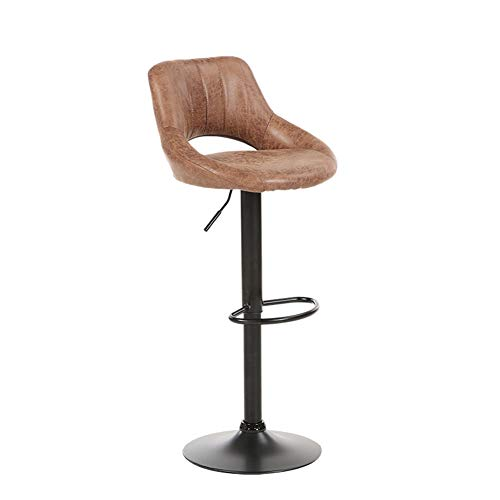 (YUWJ Vintage Rotating Bar stools,Suede Leather Adjustable Swivel Lift Bar Stool with Back Support Dining Chairs High Stool,brownA)