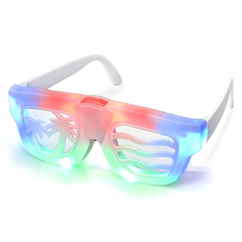 POPCHOSE Flashing Glow Led Light Up Party Glasses with Color Bar Halloween Costume Christmas Xmas Dance Party Favors, White, One Size]()