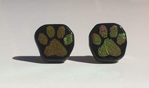 Yellow Pink Paw Print Laser Engraved Etched Dichroic Fused Glass Stud Earrings with Solid Sterling Silver ()
