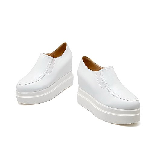 BalaMasa Girls American muffin Buttom round-toe imitato in pelle pumps-shoes, Bianco (White), 35 EU
