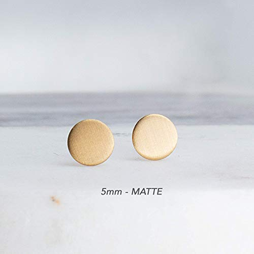 5mm Tiny Flat Disc Dot Gold Filled Stud Earrings GF-5MM-Matte