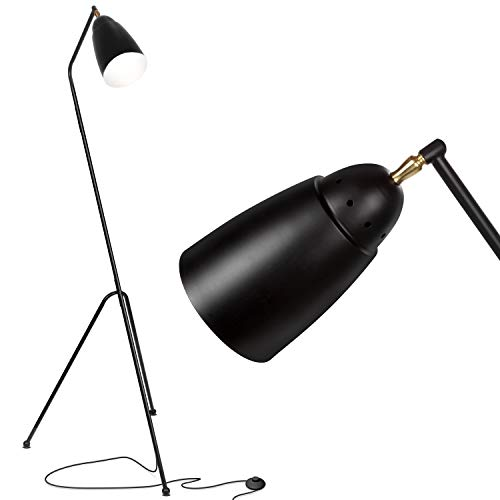Brightech Nora LED Tripod Floor Lamp- Mid Century Modern Standing Reading Light for Living Rooms and Bedrooms- Industrial Modern Urban Renewal Style Task Lamp- Black