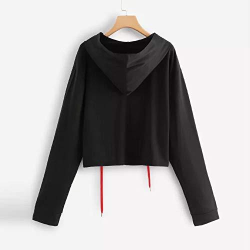 Pullover Blouse Women Plus Fashion Sweatshirt Hoodie Top Print Long Sleeve Size Black RqnwqvS