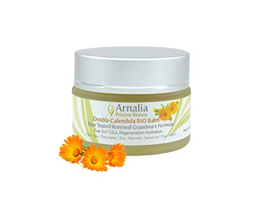 ARNALIA Calendula 100% Natural & Organic Wild Herbs Gentle Eye & Face Cosmetic Balm; Emollient Anti Aging Moisturizer Cream; Soothing, Hydrating; Sensitive, Normal Skin; Rosacea, Eczema (1.1oz) (Best Products For Eczema On Face)