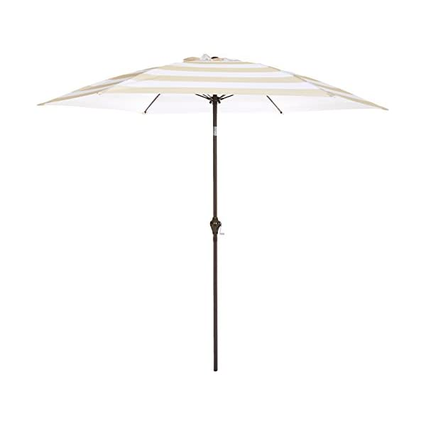 AmazonBasics - JC014 - Ombrellone da giardino, 2,74 m, a righe beige e bianche 1 spesavip