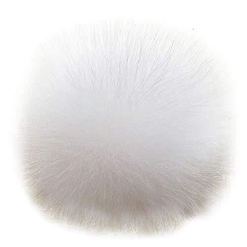 Dikoaina Faux Fox Fur Pom Pom Keychain Bag Purse Charm Gold Ring Fluffy Fur Ball, White, One Size (Key Ring Fur Faux)