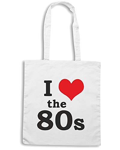Borsa Shopper Bianca TR0067 I LOVE THE 80S 80 S EIGHTIES DISCO