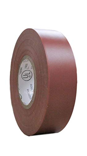 TradeGear SINGLE ROLL BROWN MATTE Electrical Tape, Colored Durable Adhesive, Waterproof PVC, Rubber Resin, UL Listed, 60' x ¾