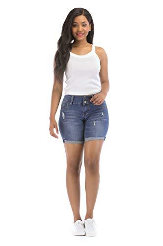 DISNAI Plus Size Jean Denim Short for Women Junior High Waisted (XX-Large, Blue)