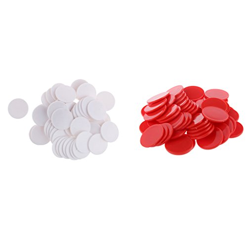 MagiDeal 100PCS Casino Poker Chips Poker Game Board Game Chips White And Red Color