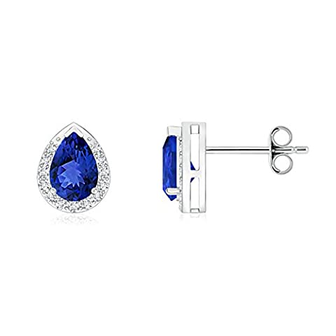 Mother's Day Gift - Diamond Halo Pear Shaped Tanzanite Stud Earrings in Platinum (6x4mm Tanzanite)