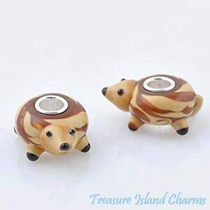 Harissa Hedgehog LAMPWORK Murano Glass 925 Sterling Silver European Euro Bead Charm Crafting, Bracelet Necklace Jewelry Findings Jewelry Making Accessory