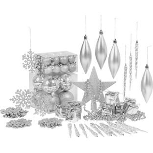 Charming Brand New Pack Of 75 Silver Christmas Tree Decorations.