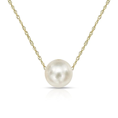 14K Gold Chain Necklace with Floating White Freshwater Cultured Pearl Pendant, 18 Choice of Pearl Sizes and Gold Colors