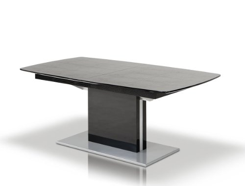 A&X Centro Modern Black Crocodile Dining Table Black/Lacquer/Rectangular