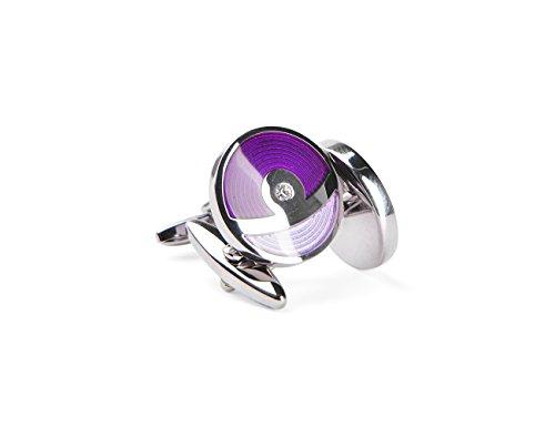 welbijoux Cufflinks Unique Round Violet Enamel Cuff Crystal Luxury French Shirts Silver Cuff Link for Men