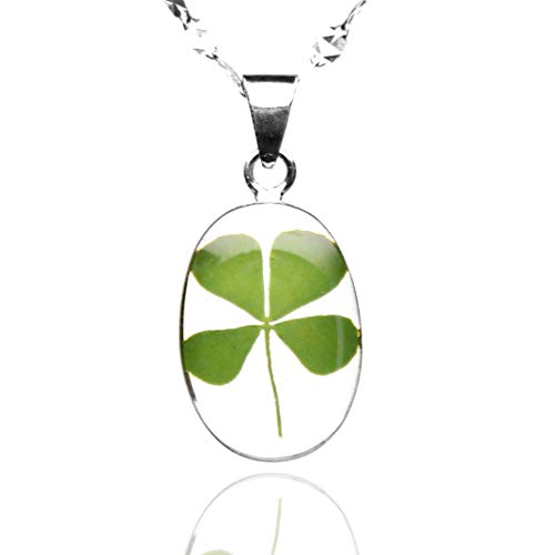 Sterling Silver Necklace by TAMI - Floral Jewelry - with Real Natural Four Leaf Clover Green Shamrock and 17.7 inches .925 Frosty Chain, Good Luck Charm for St Patrick