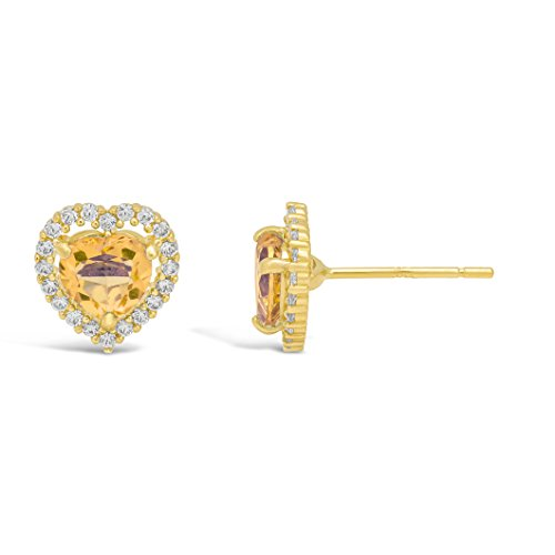 .80 cttw Halo Heart 5MM Citrine 14K Yellow Gold Stud Earrings - Gold Citrine Pierced Earrings