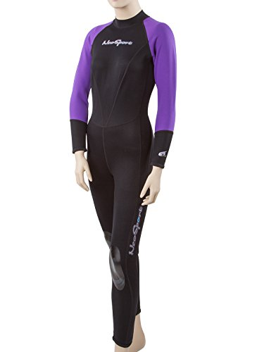 Neosport Neoskin Women's Back-Zip Full Wetsuit Black/Purple 8 Tall ()
