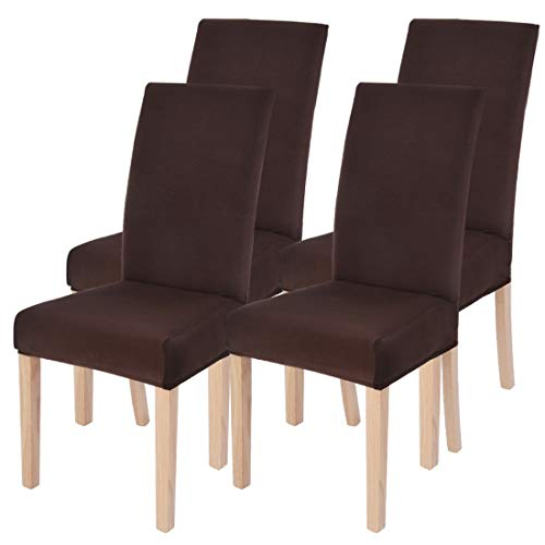 SearchI Dining Room Chair Covers Slipcovers Set of 4, Spandex Fabric Fit Stretch Removable Washable Short Parsons Kitchen Chair Covers Protector for Dining Room, Hotel (Chocolate, 4 per Set)