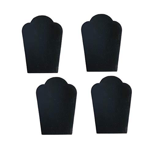 FindingKing 4 Black Velvet Padded Necklace Pendant Display Bust Easels 5.25