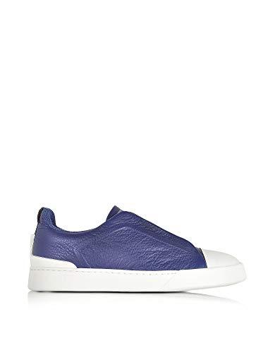 Z Zegna Men's A2970xkarblu39 Blue Leather Slip On Sneakers