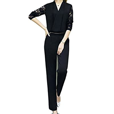 Top X-Future Women's Stylish Lace Patchwork Top Two Pieces Pants Tracksuit Outfit Set