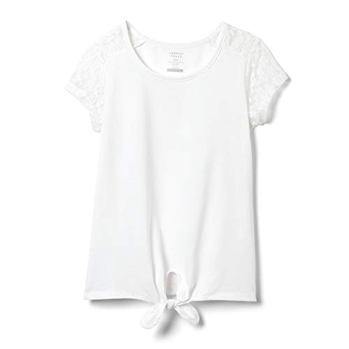 French Toast Girls' Big Short Sleeve Tie-Front Lace Shoulder T-Shirt, White, M (7/8)