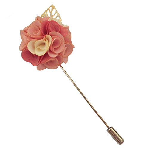 [Suuny Home Wedding Boutonniere Men Silk Lapel Brooch Hand Crafted Suits Men Flower Lapel Pins] (Pink Man Suit)