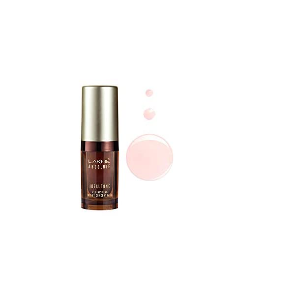 Lakme Absolute Ideal Tone Refinishing Night Concentrate, 15 ml 2021 June Lightweight, potent night concentrate clinically proven to give a flawless and even skin tone Infused with pineapple extract for exfoliation