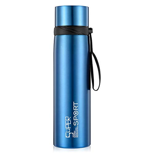 Ambater Vacuum Insulated Sports Bottle Wide Mouth Stainless Steel Water Bottle Portable Leak-Proof Flask for Hot and Cold Drinks, 37oz,38oz,26oz(26 oz, Blue)