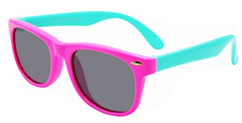 Coolsome Rubber Flexible Kids Polarized Sunglasses With Strap for Boys Girls Children Age 3-10 Years Old (Pink - Woman With Old Sunglasses