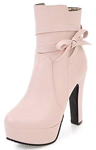 Women's Round Toe Platform High Heels Fashion Ankle Boots Pink - 7