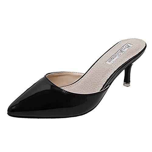 fereshte Women's Pointy Toe Mules Shoes Stiletto Kitten Heel Slide Sandals Pat Black EU39 (Mule Kitten)