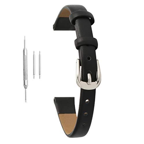 8mm Women's Black Genuine Leather Thin Watch Band Strap Belt