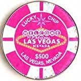 Las Vegas Poker Chip Metal Pink Glitter $500 Chip 2 Inch Magnet