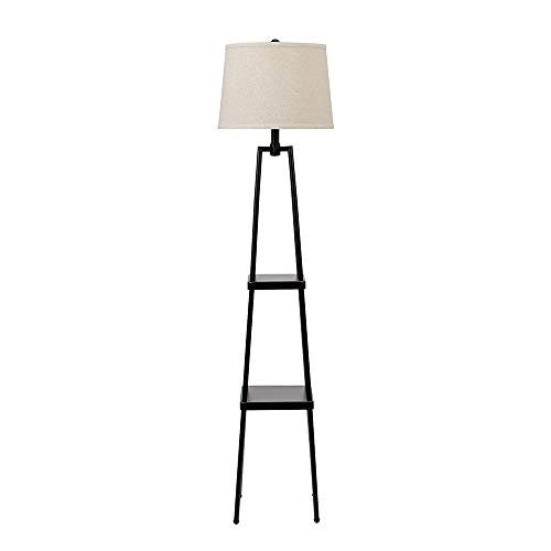 "Catalina Lighting 19305-000 Modern Metal Floor Lamp with Shelves and Beige Linen Shade for Living, Bedroom, Dorm Room, Office, 58"", Classic Black"