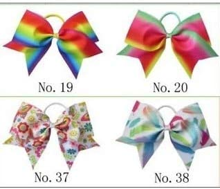 "100 BLESSING Good Girl Rainbow Unicorn 7/"" Cheer Leader Hair Bow Elastic 49 No."