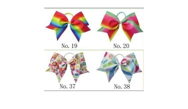 "20 BESSING Good Girl Rainbow Unicorn 7/"" Cheer Leader Hair Bow Elastic 49 No."