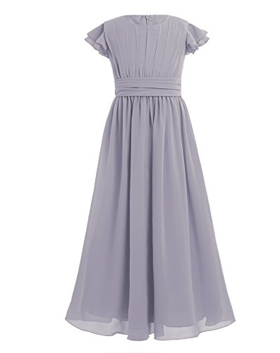 YiZYiF Girls' Kids' Flutter Sleeves Ruffles Bridesmaid Prom Gown Party Long Flower Girl Dress Gray 8
