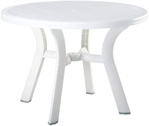 Compamia Truva 42 Round Resin Patio Dining Table in White, Commercial Grade