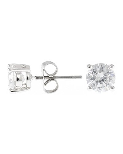 Kenneth Jay Lane Women's Classic Luxe Four Prong Earrings, Silver/Clear, One ()