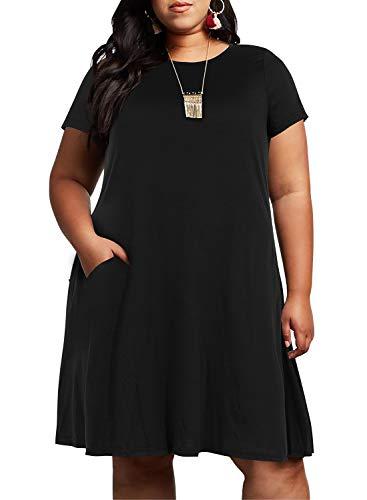Nemidor Womens Ruffle Sleeve Jersey Knit Plus Size Casual Swing Dress with Pocket