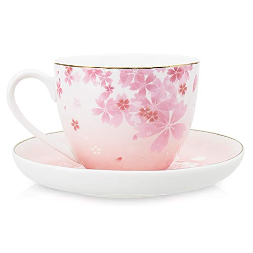 - Tea Cups and Saucers Sets for Womens Cherry Blossom Coffee Mug Set 8oz, 2 Piece Cup & Saucer Set