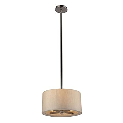 Alumbrada Collection Jorgenson 3 Light Pendant In Polished Nickel And Taupe Wood - Tapered Angle Mahogany Finish