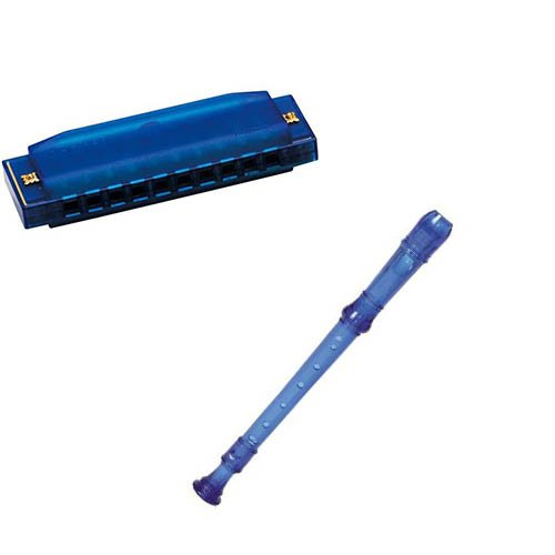 My First Recorder / Harmonica Pack -BPA FREE Blue Translucent Recorder w/Blue Hohner Harmonica